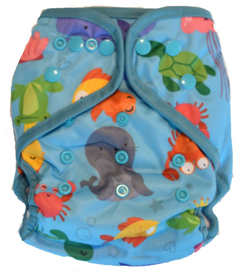 Layla Mae All in One Cloth Diapers One Size Adjustable AIO (Sea Animals)