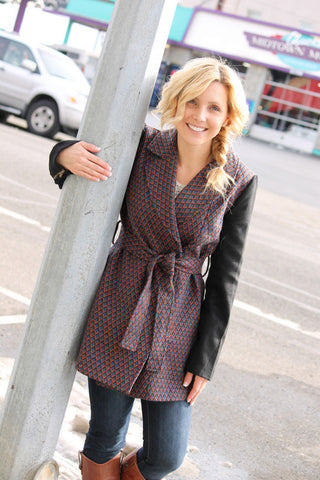 Two Toned Contrast Trench Coat