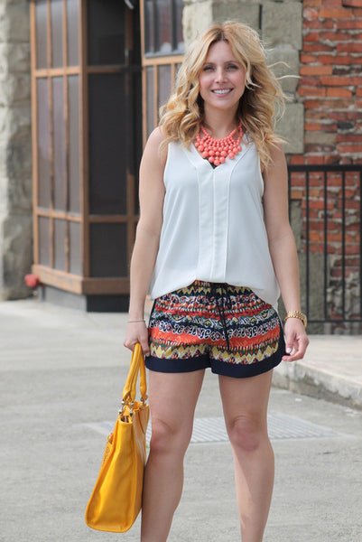 Tribal Print Shorts In Orange & Blue