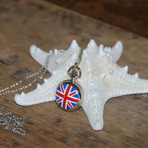 British Flag Watch Necklace