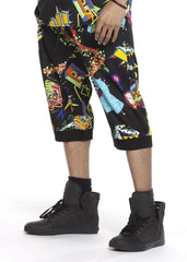 Comic Collage Jogger Shorts