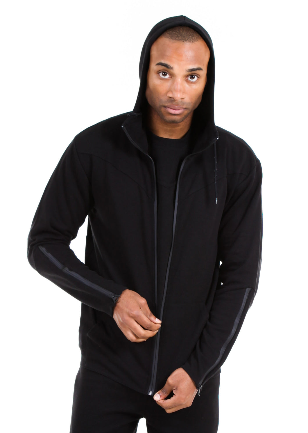 87074ZH Black, Men's Tech Fleece Zipup Hoodie