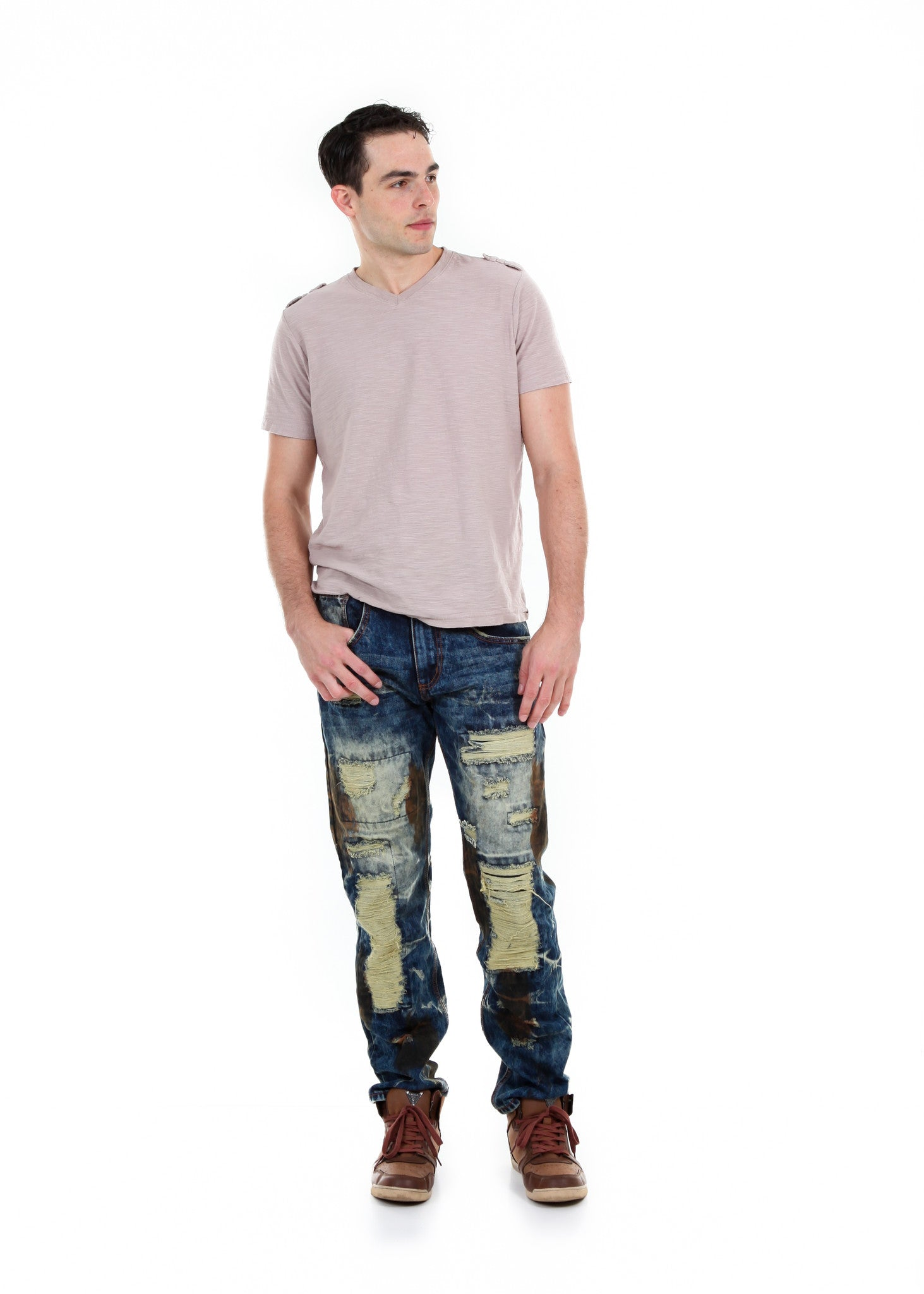 Slim Extreme Ripped and Repaired Jeans