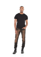 Skinny Ripped and Whiskered Moto Jeans