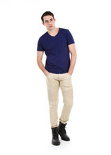 Load image into Gallery viewer, 89086SK Khaki, Men's Moto Twill Skinny Fit Pants