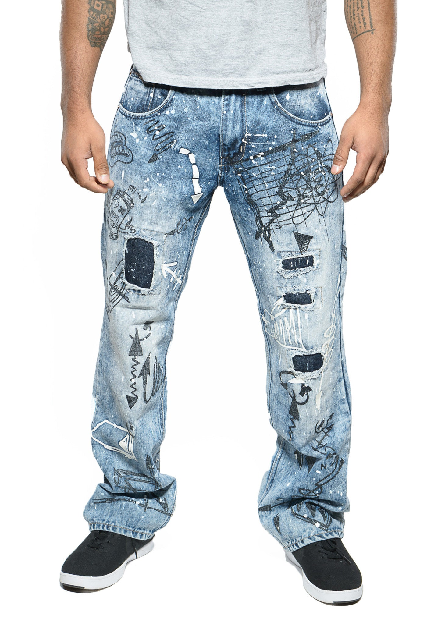 Straight Fit Sketch Art Distressed Jeans