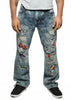 Straight Fit Emoji Patch Ripped Jeans
