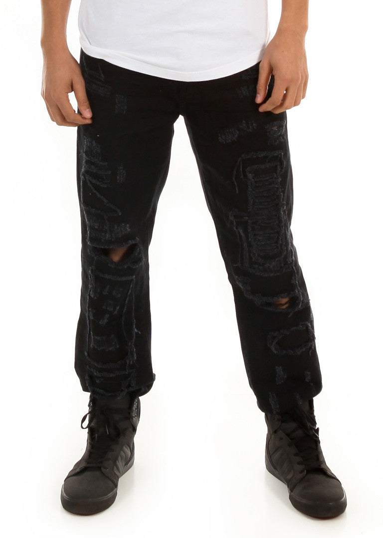 D7PT1073 Black, Men's Distressed and Patched Denim Jeans