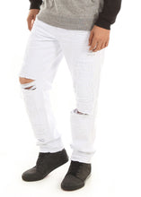 Load image into Gallery viewer, D7PT1073 White, Men's Distressed and Patched Denim Jeans