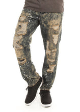 Load image into Gallery viewer, D7PT1074 Smokey Wash, Men's Galaxy Print Distressed Denim