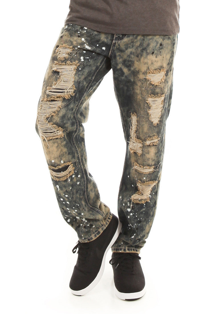 D7PT1074 Smokey Wash, Men's Galaxy Print Distressed Denim