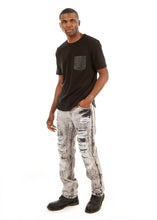 Load image into Gallery viewer, D7PT1078 Dirty Raw Wash, Men's Patched Ripped Jeans