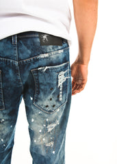 Slim Fit Ripped and Patched Distressed Jeans