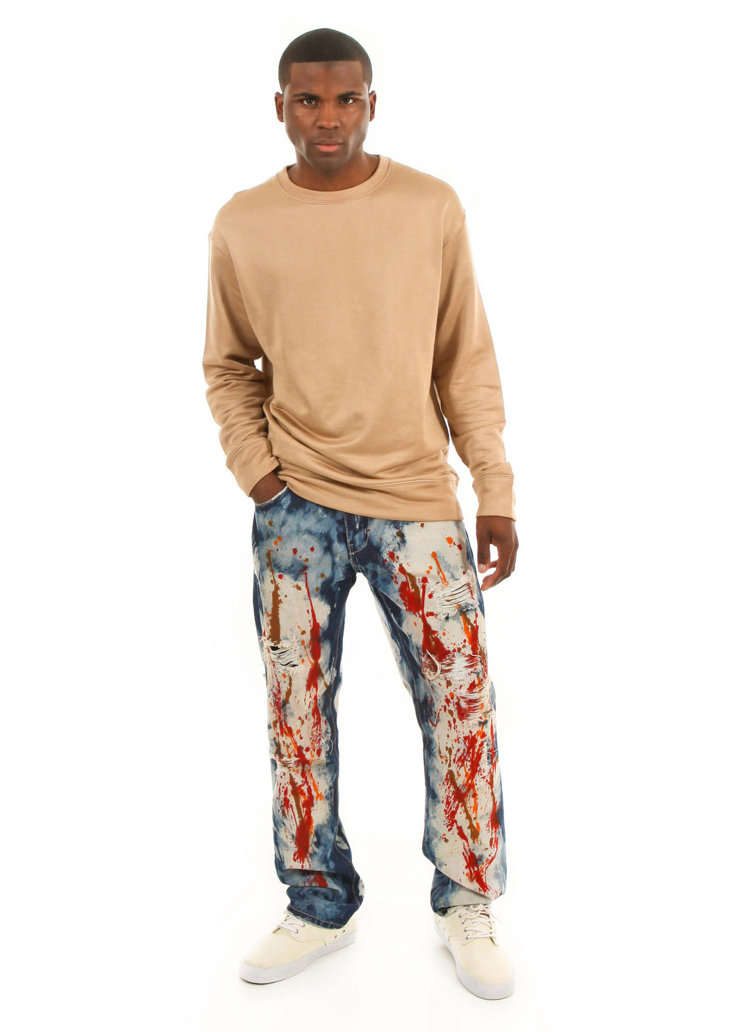 D7PT1081 Painted Wash, Men's Paint Splatter Jeans