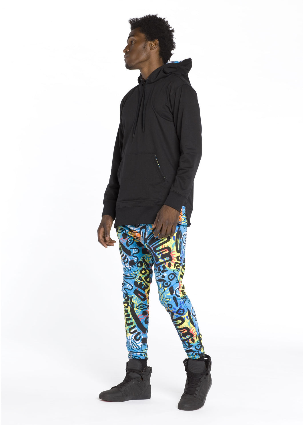 R7JG1001 African Tribal, Men's French Terry Tribal Print Joggers
