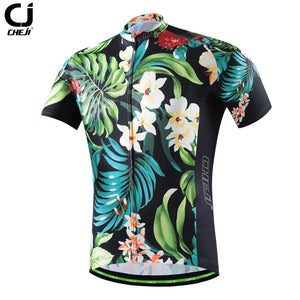 CHE JI Men Retro Cycling Jersey Tight Short-sleeve T-shirt Breathable MTB Bike Bicycle Clothing Wear Quick Dry Sport Jersey - KOM Cycles