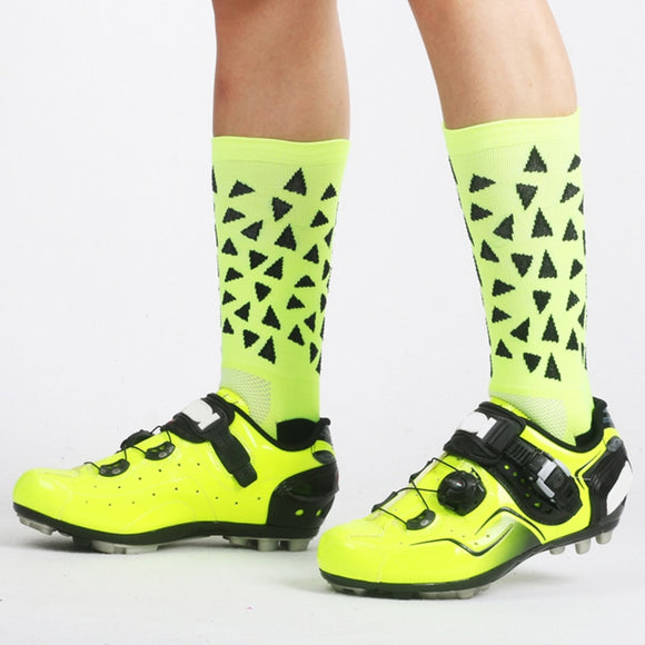 New Cycling Socks Stylish Running Riding Sports Sock Mountain Road Bike Bicycle Breathable Compression Socks Triangle Pattern - KOM Cycles