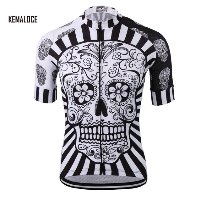 White Skull Sublimation Printing Cycling Jersey Best 2019 Pro Polyester Bike Wear Summer Men Quick Dry Cycling Top Bicycle Shirt - KOM Cycles