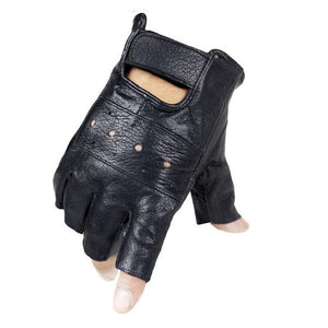 Cycling Solid Casual Men Gloves Season Finger All Wrist Driving Black Soft Half Leather Gloves - KOM Cycles
