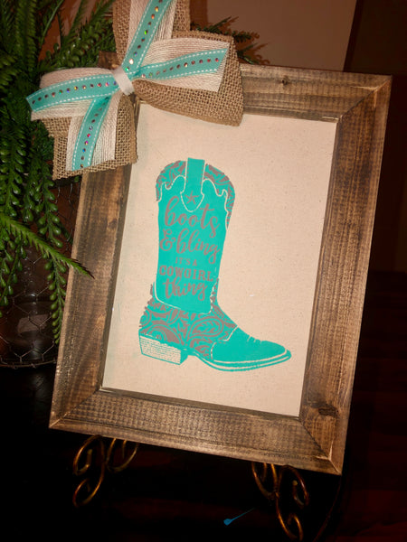 """Boots & Bling"" Reverse Canvas"