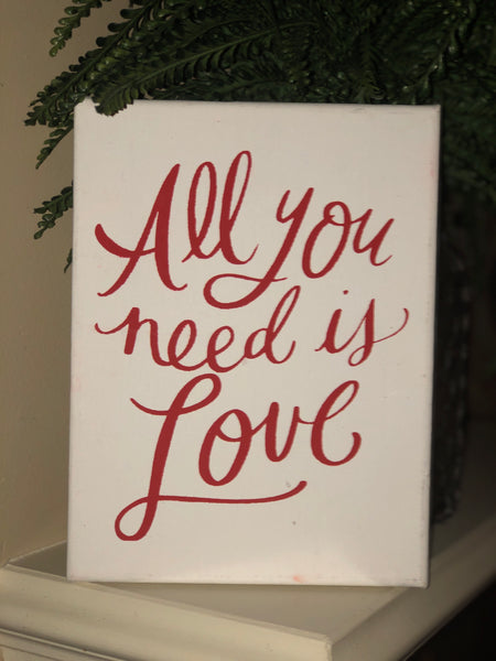"""All you need is Love"" canvas sign"