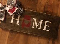 """Home"" wood sign with the Alabama State in place of ""O"""