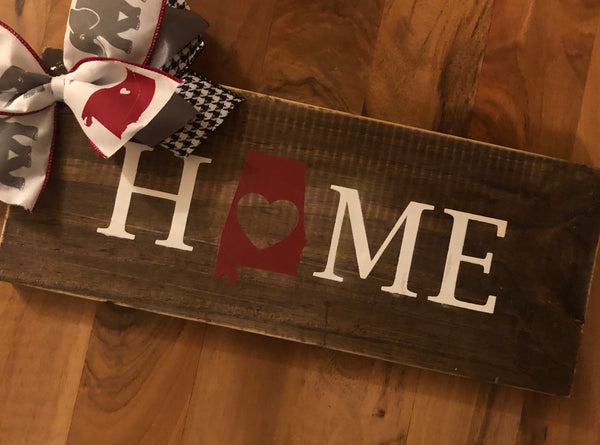 """Home"" wood sign with Alabama State in place of ""O"""