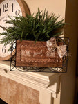 """Home Sweet Home"" wooden decorative tray with rod iron handles and details"
