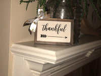 """Thankful"" with arrow reverse canvas"