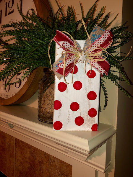 White with red Polka dot frame with decorated clip added