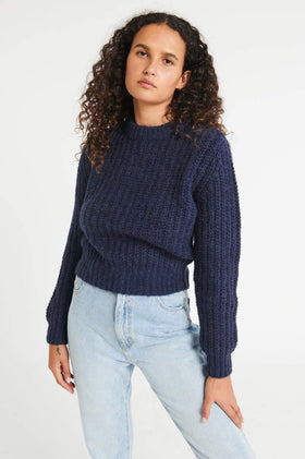 Rollas Fluffy Sailor Sweater - Navy