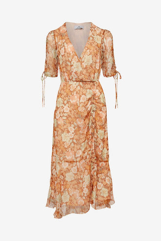 We Are Kindred Gisela Silk Lurex Midi Dress - Burnt Orange