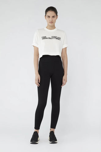 C&M Amelia Crop logo Tee - White With Black