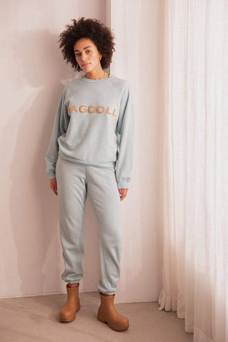 Ragdoll LA High Waisted Terry Patch Jogger - Light Blue