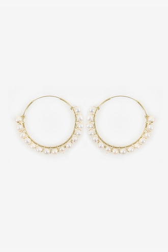 La Tribe Cosmia Pearl Earrings - Gold