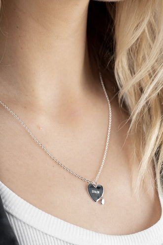 Stolen Girlfriends Club Crying Heart Necklace - Silver