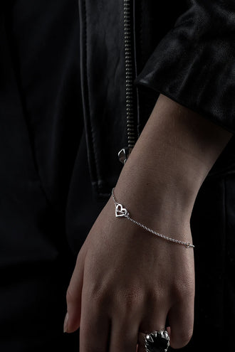 Stolen Girlfriends Club Heart Script Bracelet - Silver
