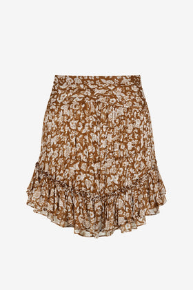 Shona Joy Odette Ruched Mini Skirt - Clay/Ivory