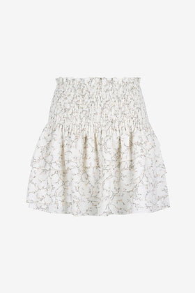 Shona Joy Monique Shirred Mini Skirt - Ivory/Multi
