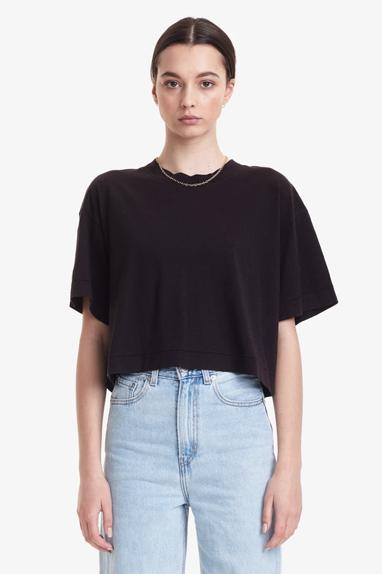 Commoners Womens Cropped Boy Tee - Black