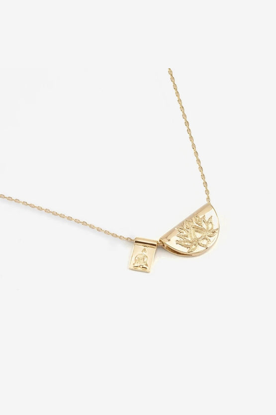 By Charlotte Lotus & Little Buddha Necklace - Gold