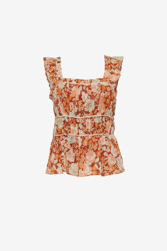 We Are Kindred Pia Gathered Cami - Burnt Orange