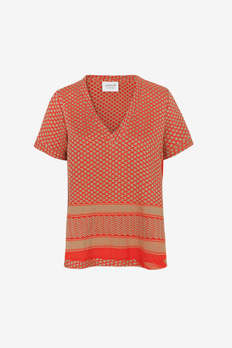 Cecilie Copenhagen Shirt V Short Sleeves - Camel/Red