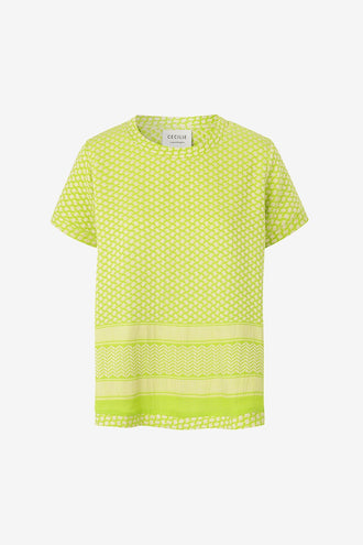 Cecilie Copenhagen Shirt O Short Sleeve - Lime/Cream