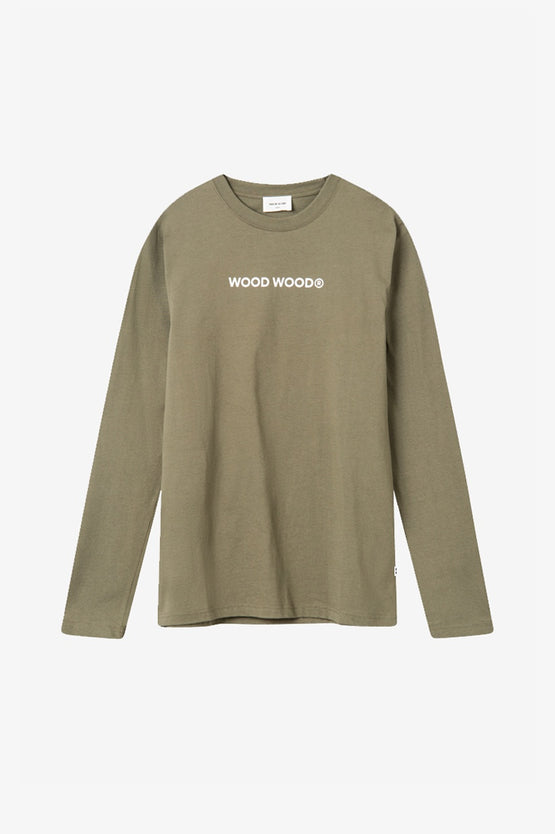 Wood Wood Peter Logo Long Sleeve - Dusty Green
