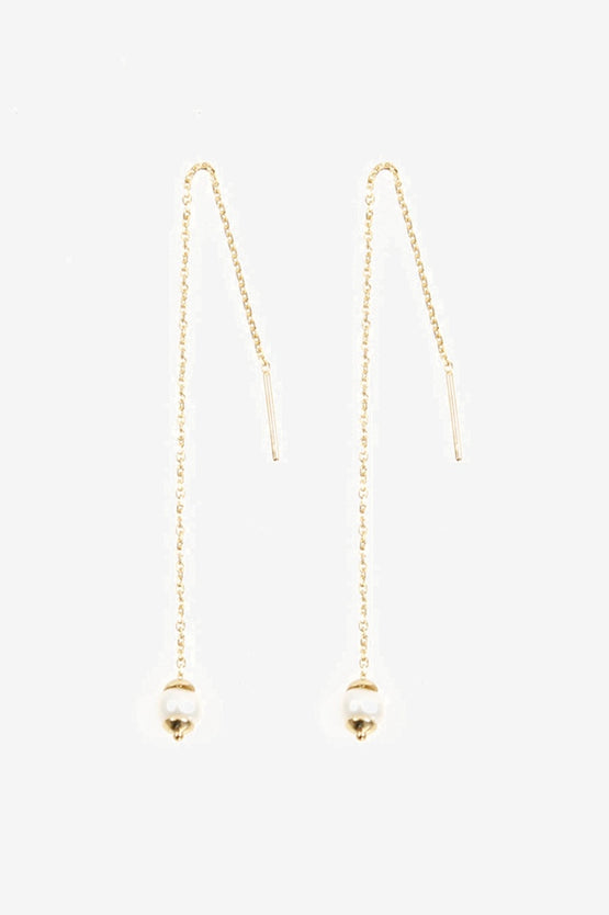 La Tribe Tiny Pearl Chain Earring - Gold