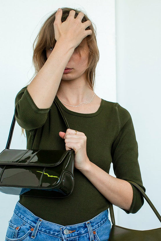 Brie Leon The Camille Bag - Forest Green Patent