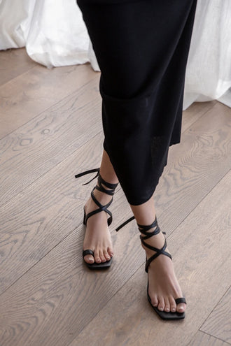 La Tribe Lace Up Heel - Black