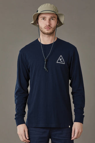 Just Another Fisherman Angled Marlin LS Tee - Navy