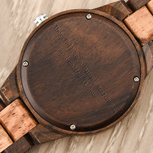 Load image into Gallery viewer, Personalized quote on the back of our Wooden Watches, perfect gift